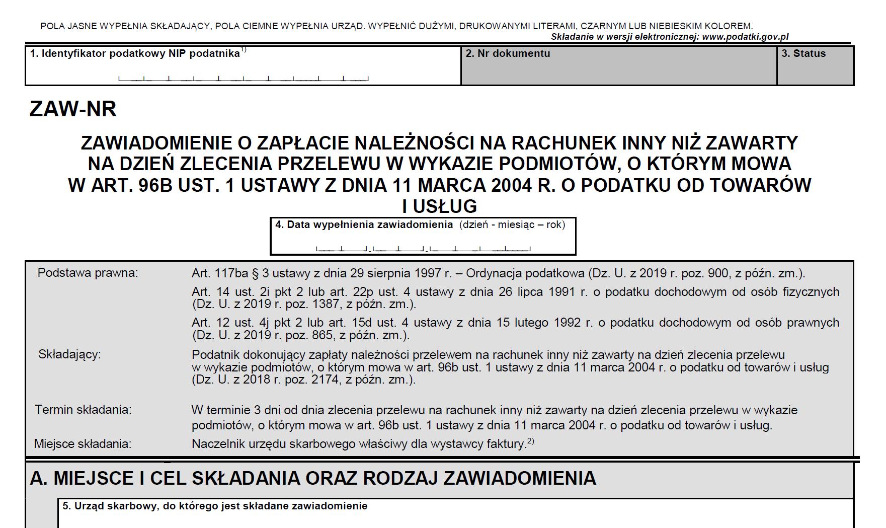 Formularz ZAW-NR - Przelew poza białą listę VAT